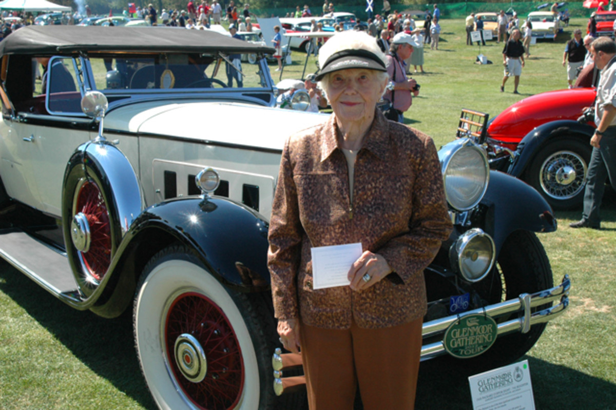 Margaret Dunning proudly shows her Packard at the 2012 Glenmoor Gathering. (Old Cars Weekly file photo)