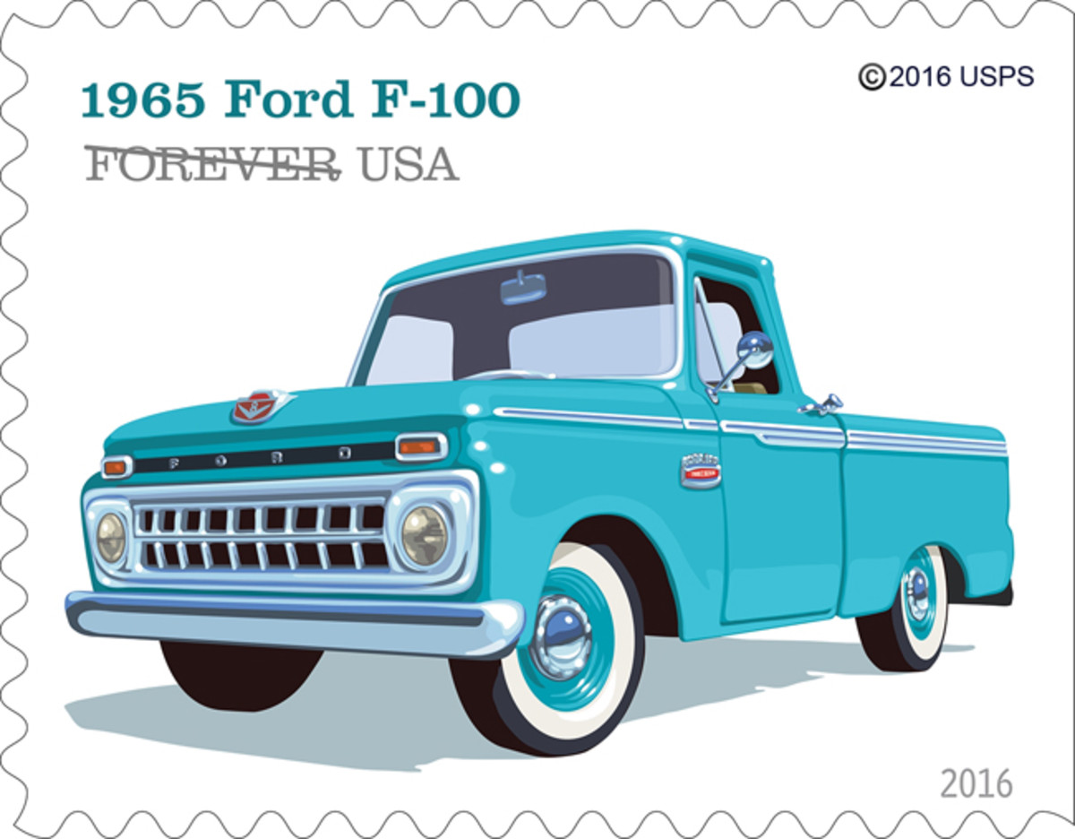 """The 1965 Ford F-100 had a new grille that featured 18 small rectangular openings. It also featured what Ford dubbed """"Twin-I-Beam"""" independent front suspension."""