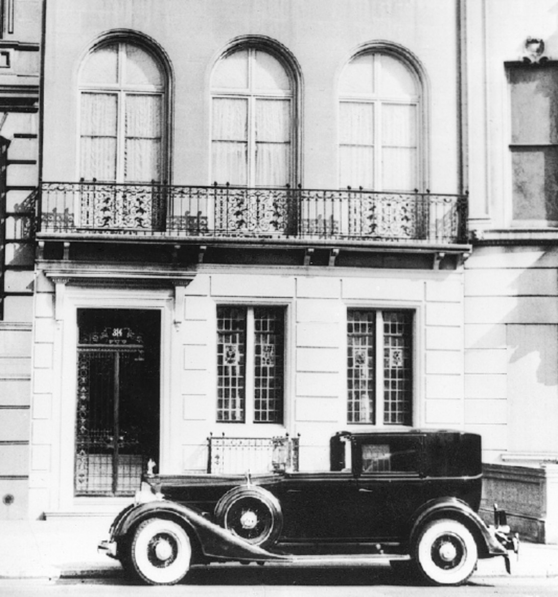 1934 Packard believed to be sporting Rollston town car coachwork. The car is pictured on New York City's Fifth Avenue in 1937.