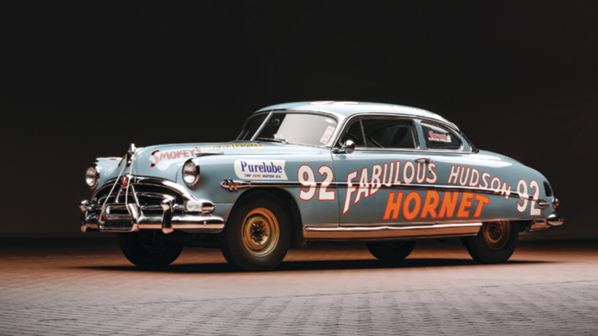 This 1952 Hudson Hornet, raced to success in NASCAR by Herb Thomas, sold for $1.265 on Aug. 4 at Worldwide Auctioneers's sale of the Hostetler collection. (Worldwide Auctioneers photo)