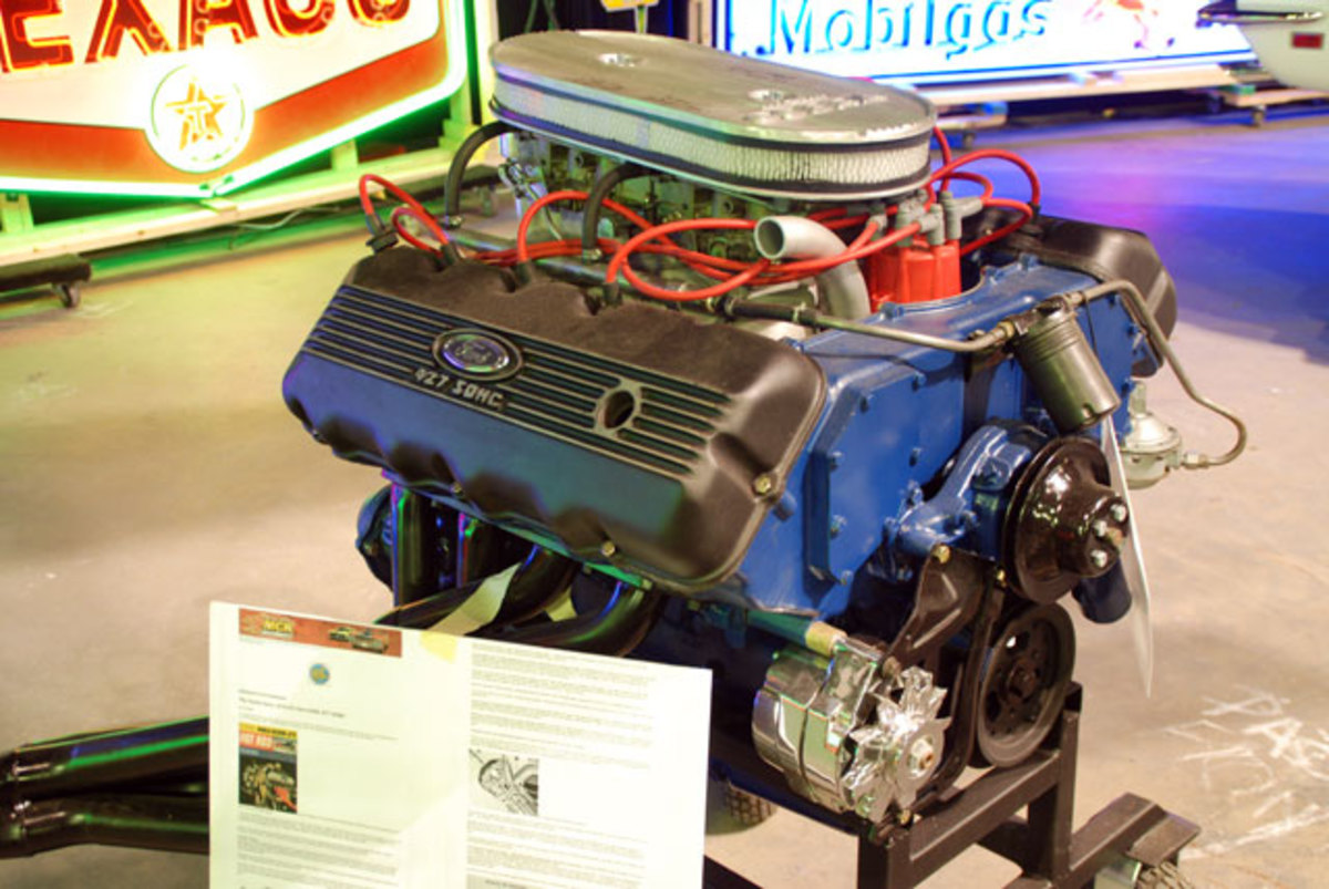 "Bidders have been checking out this Ford 427 ""Cammer"" engine which may hit $100,000 Saturday evening."