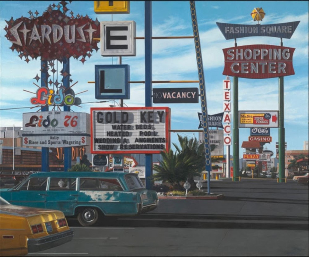 John Baeder (American, born 1938), Stardust Motel. Oil on canvas, 1977. 58 x 70 in. (147.3 x 177.8 cm). Yale University Art Gallery, Richard Brown Baker, B.A. 1935, Collection Modern and Contemporary Art, 2008.19.762. Courtesy of the artist and OK Harris Works of Art, New York, NY