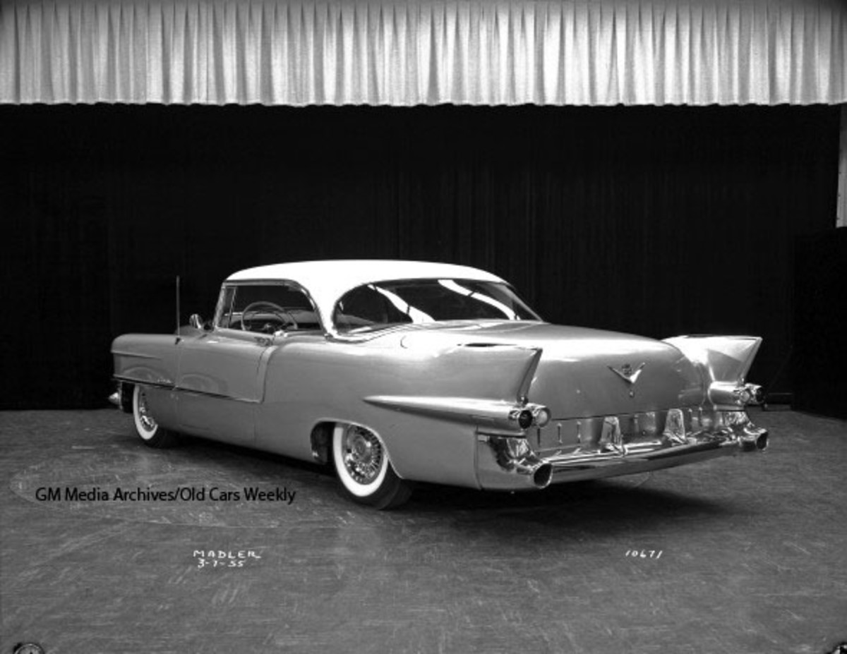 """Factory photo of the 1955 Eldorado two-door hardtop. Although it was clearly the prototype for the 1956 Eldorado Seville, no """"Seville"""" scripts appear on this car. (GM Media Archives image)"""
