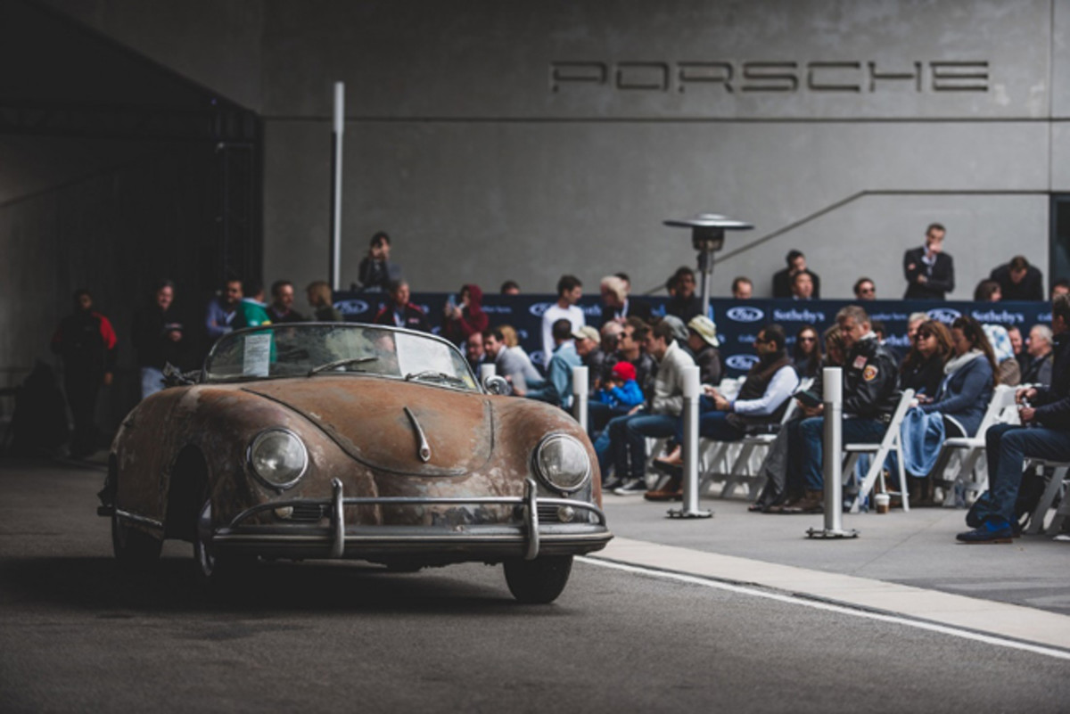 The wonderfully distressed 1958 Porsche 356 A 1600 'Super' Speedster draws eyes and bids at the Porsche Experience Center Atlanta