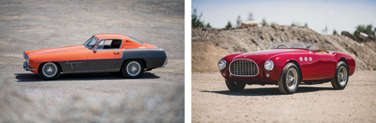 LEFT: 1955 Ferrari 375 MM Coupe Speciale RIGHT: 1952 Ferrari 225 Sport SpiderPhotos Darin Schnabel © 2019 Courtesy of RM Sotheby's