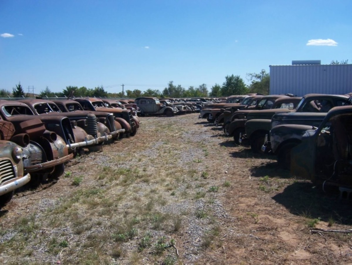 A row of coupes at the Oliver Jordon Collection in Enid, Okla., to be offered by VanDerBrink Auctions, LLC.