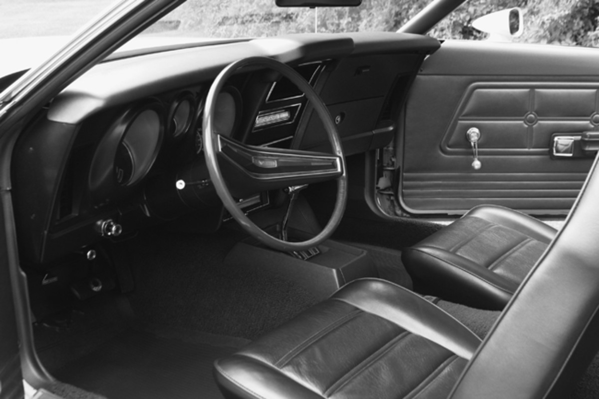 The interior of the 1973 Mach 1, like the rest of the car, is like new.
