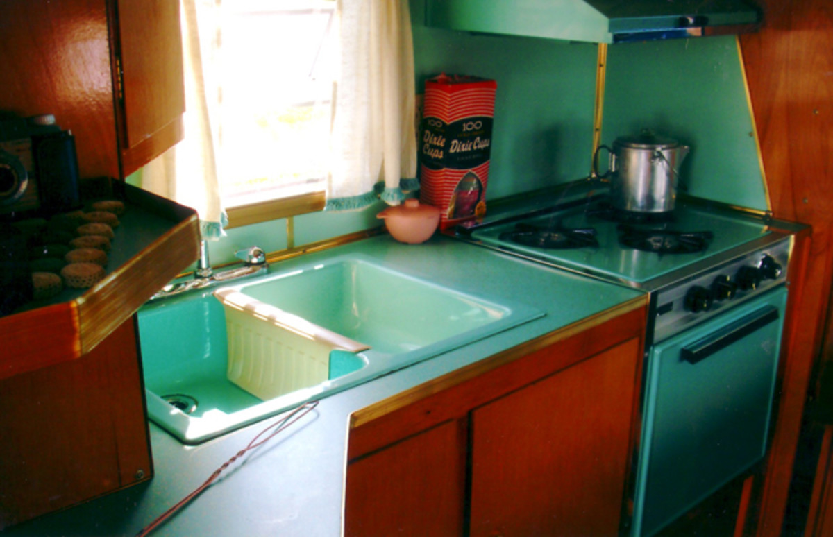 The interiors of Del Rey campers were available in five color choices: avocado, champagne, yellow, red or turquoise. The interior of McQuaid's camper is turquoise.
