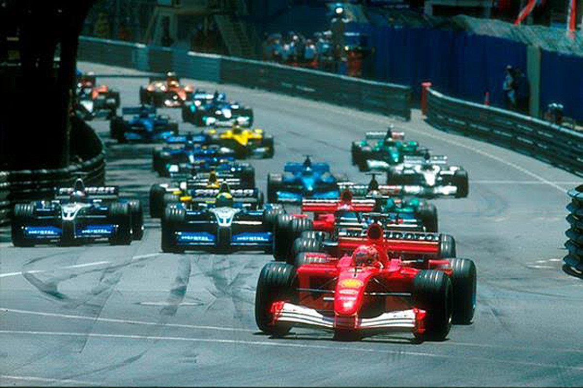 Michael Schumacher leads the pack during the 2001 Monaco Grand Prix (Credit – LAT Images)