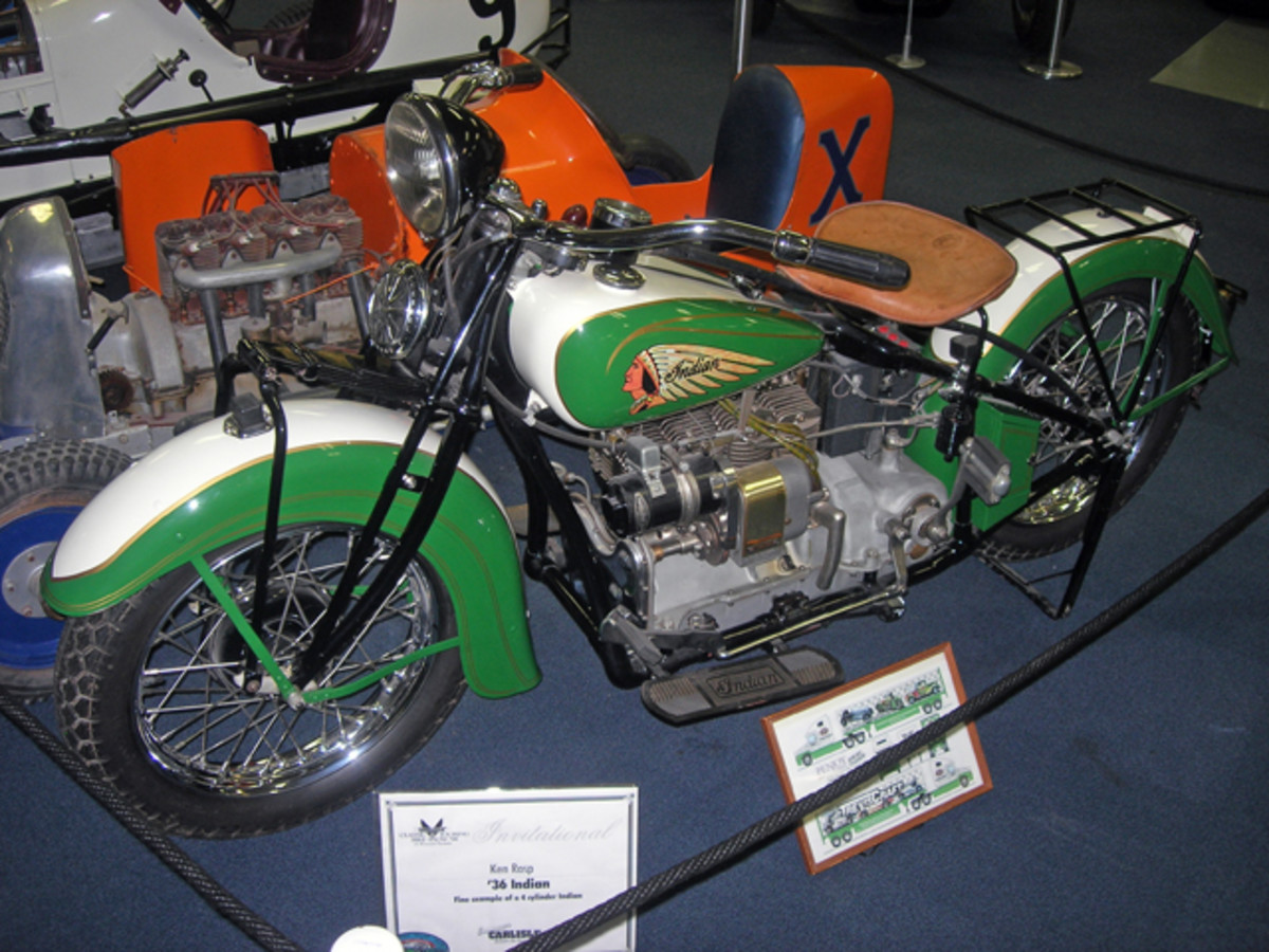 Two-wheeled machines also have prominent display space in the EMMR, including this restored-to-pristine-condition 1936 Indian motorcycle. Indian's four-cylinder engines were a popular choice to power midget race cars of that time.