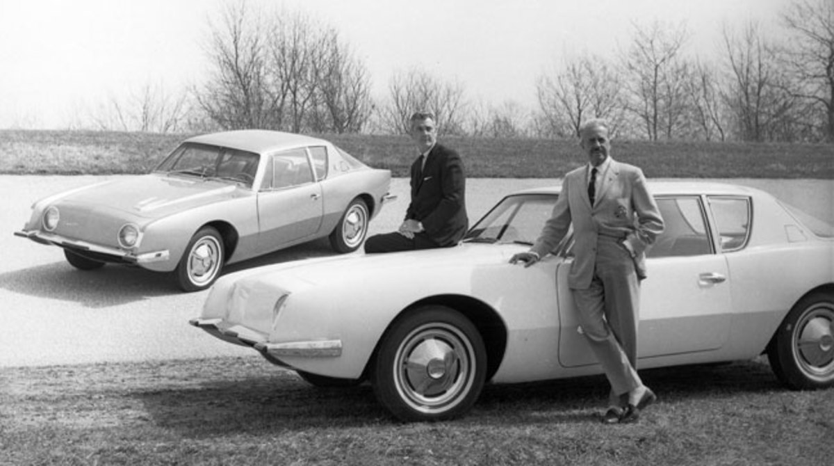 Raymond Loewy (right) and Sherwood Harry Egbert pose with their new creation.