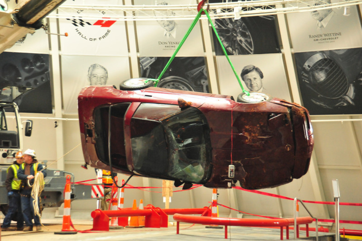 The 1993 40th Anniversary Corvette as it was retrieved from the sinkhole.