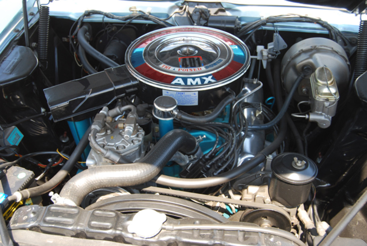 Several engines have been installed in the prototype. Here the AMX is sporting the AMC 401 c.i.d. V-8.