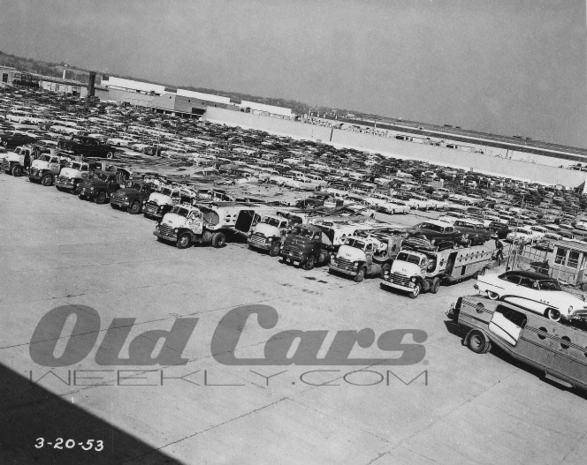 A sea of new 1953 Buick-Oldsmobile-Pontiac products await loading onto the back of General Motors-based haulers, although a Dodge has crept into the mix. The March 20, 1953, photo reflects a strong model year in sales for all three makes with Buick and Pontiac, in particular, each recording their second-highest sales numbers in history to that point.