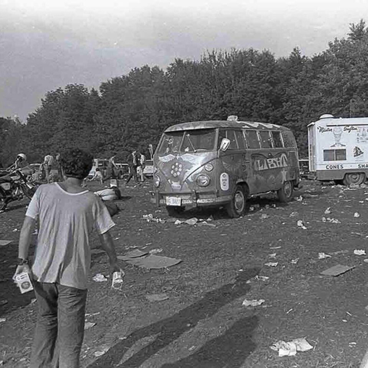 LIGHT Bus the day after Woodstock, August 1969. Photo credit: Rolling Stone Magazine C/O AACA Museum, Inc.