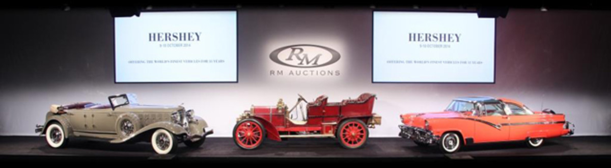 The Friday night sale session was headlined by the 1933 Chrysler CL Imperial Dual-Windshield Phaeton, the 1905 FIAT 60 HP Five-Passenger Tourer, and the record-breaking 1956 Ford Fairlane Crown Victoria Skyliner 'Glass Top' from the Jeffrey Day Collection. (© 2014 Courtesy RM Auctions)