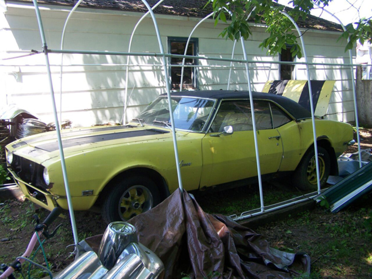 The Camaro was stored under a car canopy and was in decent shape.