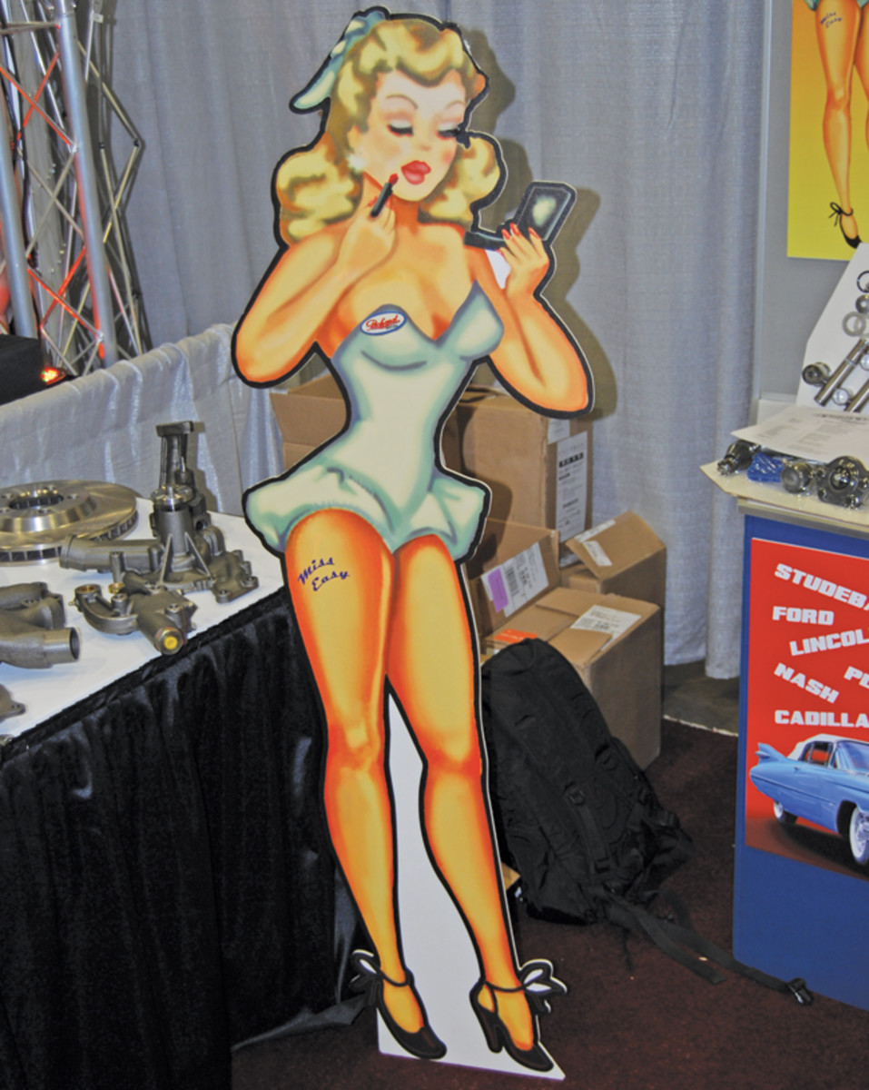 """This curvy lady was the mascot at the Jr Distributor International (www.classic-new.com) booth in the SEMA Show's """"Restoration Marketplace."""""""