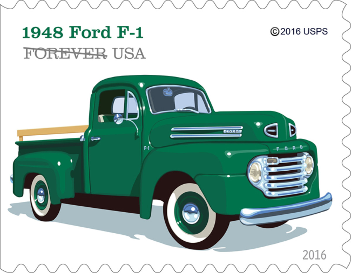 """The 1948 Ford F-1 included features like the roomy """"Million Dollar Cab,"""" a sharp horizontal five-bar grille and a six cylinder engine."""