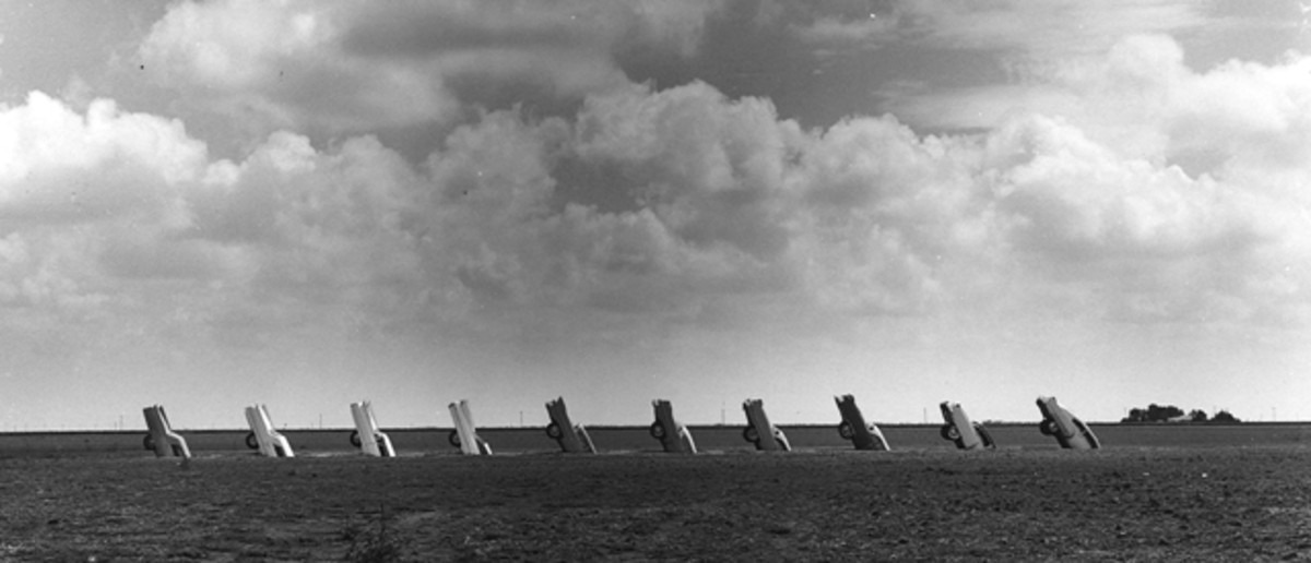 The 10 Cadillacs chosen by The Ant Farm to represent the evolution of the marque's famous tailfins are shown as they appeared shortly after Cadillac Ranch was completed in the summer of 1974. (Wyatt McSpadden photo)
