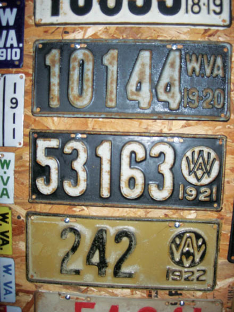 This trio is a small portion of the vintage West Virginia license plates among the many thousands of plates in the Hartung Collection. The West Virginia series sold for $26,000.