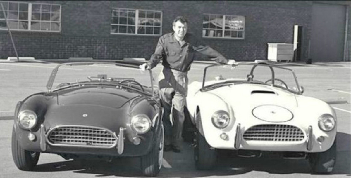 Carroll Shelby; 1964 production Cobra and Cobra race car. Photo: Ford Motor Company