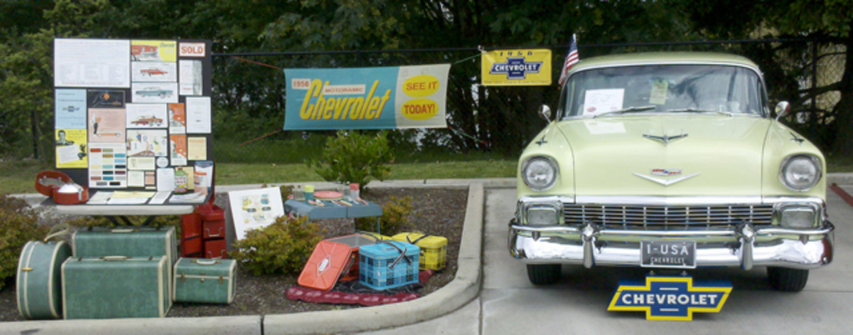 Wadzinski has collected several Chevrolet sales items and period accessories to complement his 1956 Chevrolet.