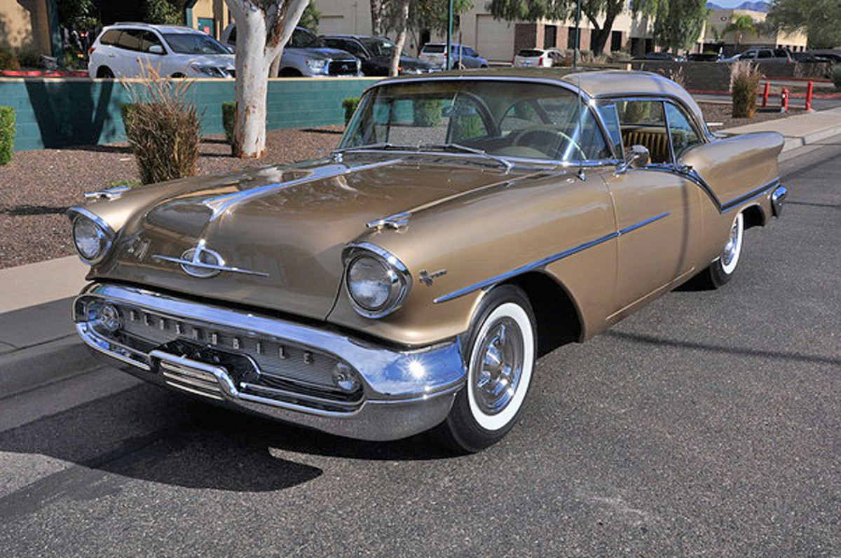 1957 Oldsmobile Super 88 Holiday coupe at Russo and Steele.