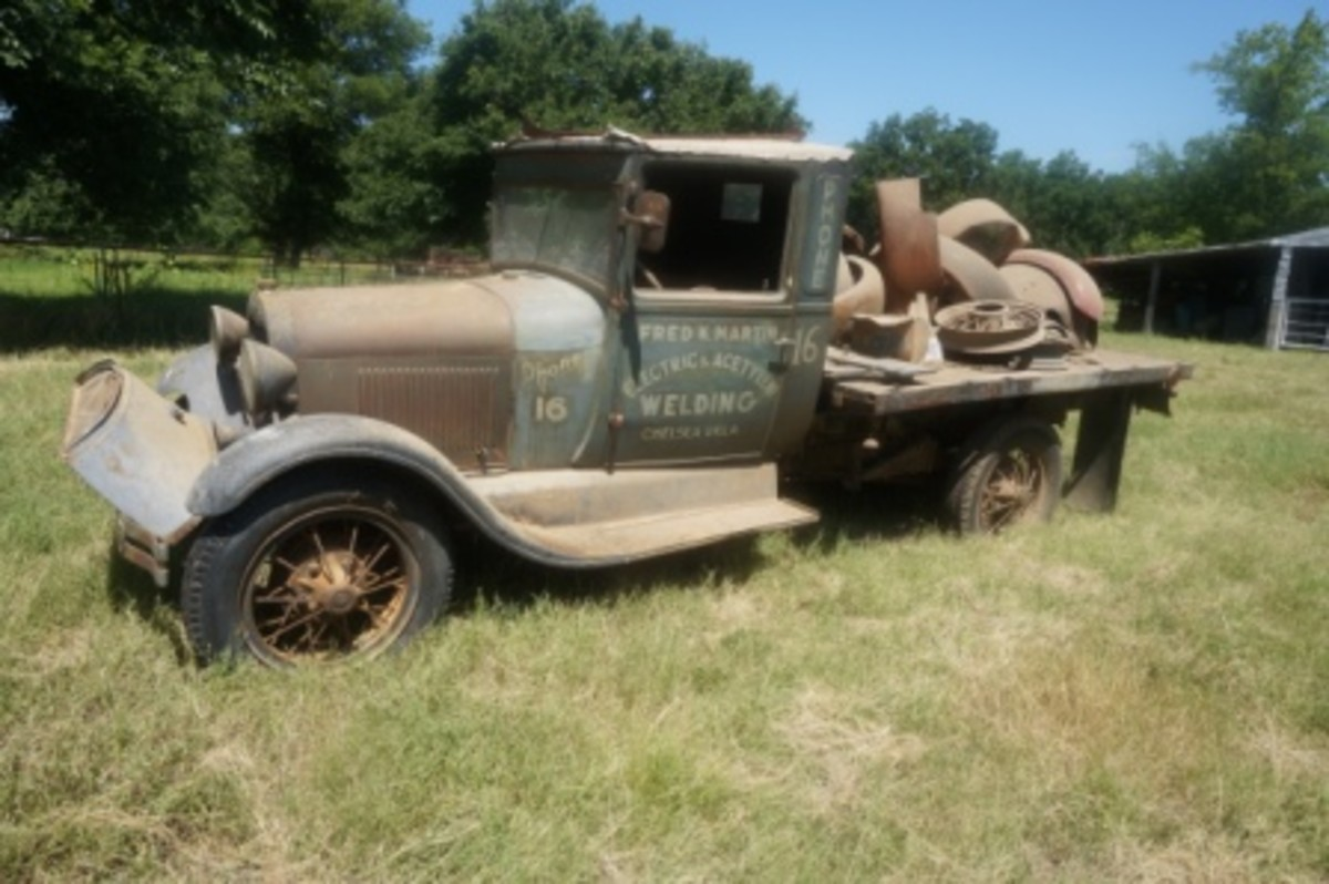 This photo sums up the Hessom estate sale: Model A parts and a Model A vehicle.