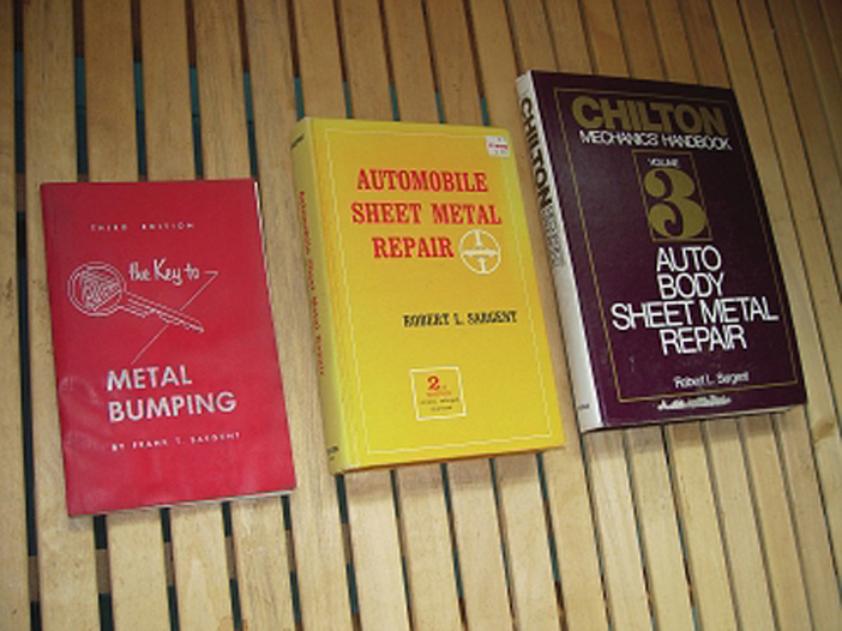The three books shown here are the most basic and important texts for the metal man. The one on the left evolved from a tool catalog and was the first systematic guide to auto body sheet metal work. The two on the right are really the same book in different issues. They offer a comprehensive understanding of auto body sheet metal work.