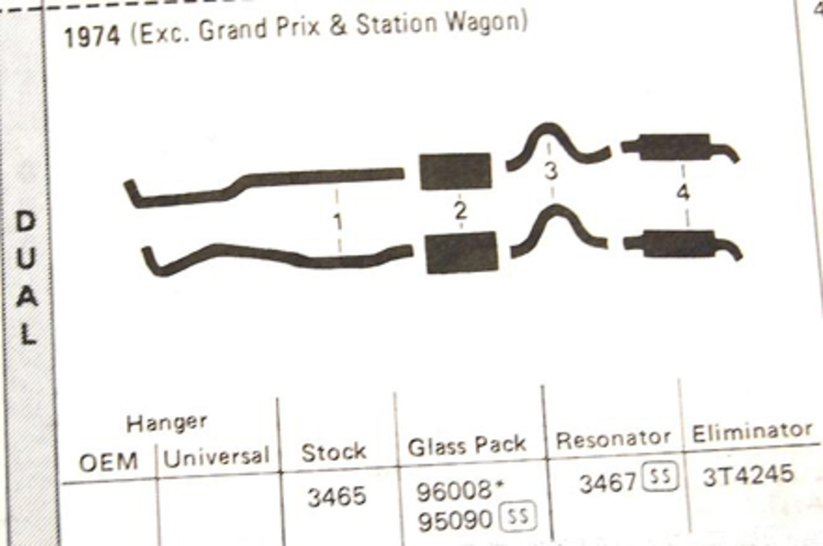 Diagrams show the various pipes, mufflers and resonators. Often the resonators are not used today and the pipes are adjusted to compensate.