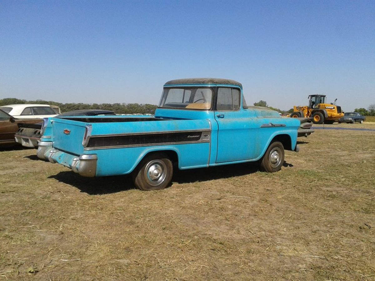 1958 Chevy Cameo sold for $145,000 at the VanDerBrink Auction of the Lambrecht Collection in Pierce, Neb.