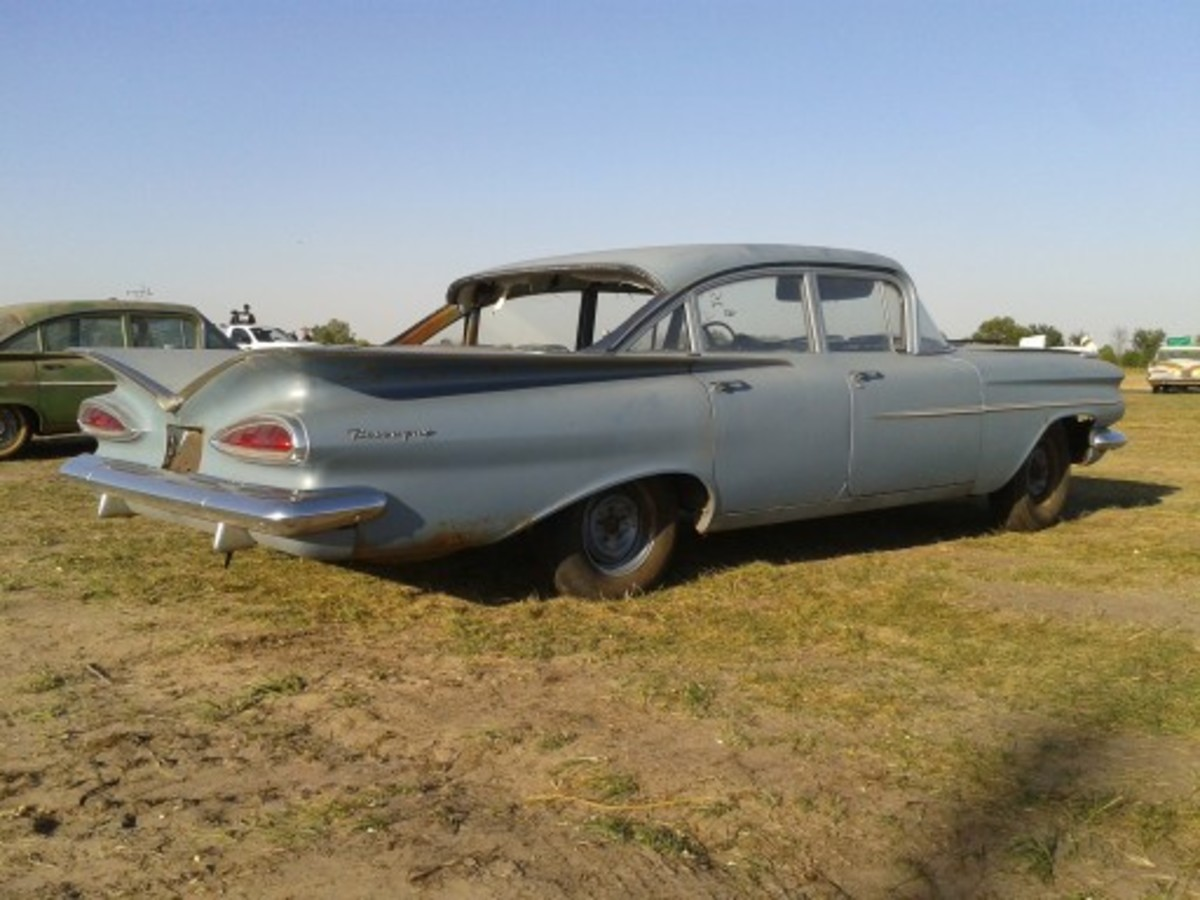 I hoped to come home with this unsold 1959 Chevrolet Biscayne sedan still on MSO, but it was a little too rough to preserve in original condition. The floor pans in the trunk and passenger compartment needed replacement, the interior needed significant work and the body had too much rust to preserve as it was. As such, the car sold at the lowest price the unsold 1959s sold for during the VanDerBrink Auctions sale: $11,000. It has found a good home and the new owner plans to fix it up and drive it.