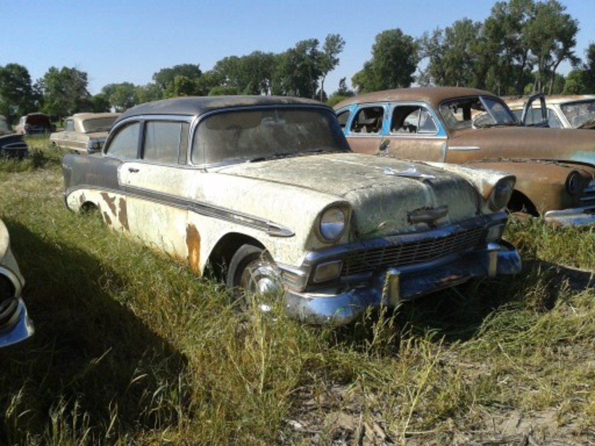 This 1956 Chevrolet Bel Air two-door sedan was one of the few six-cylinder-powered post-1954 Chevrolets at the sale. The Crocus Yellow and black two-door was ripe for restoration and fetched $14,500 to stay in Nebraska.
