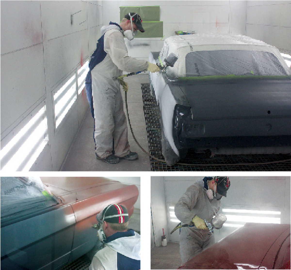 In the booth, the Mustang is given a layer of dark sealer (top), followed by three coats of color and three coats of clear. The top layer of clear will be buffed off after it cures.