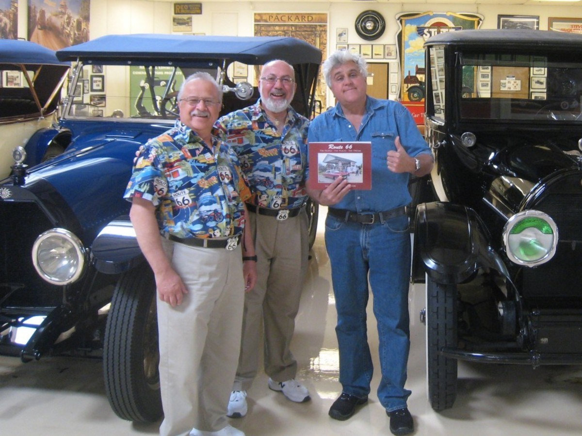 """Bob Walton (left) and Sal Santoro beam as Jay Leno gives their book, """"Route 66, The People-The Places-The Dream"""" a big """"thumbs up."""""""