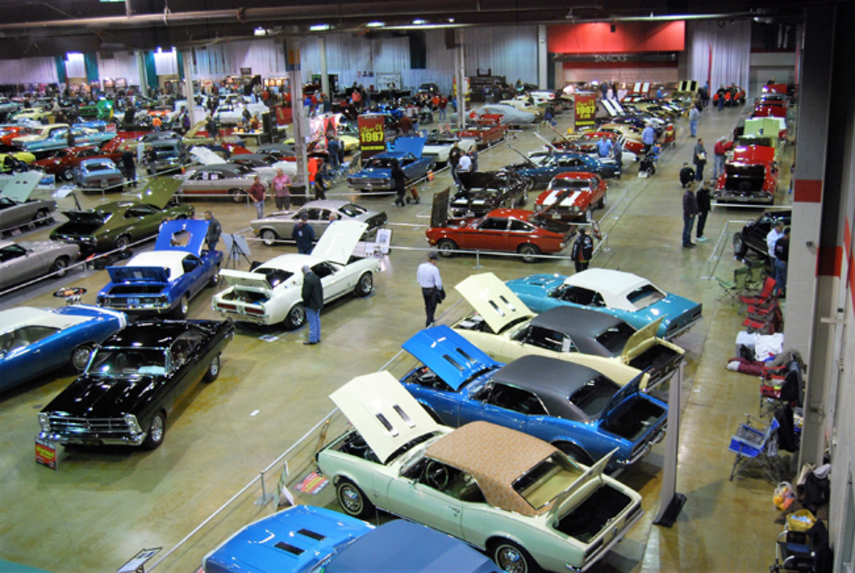 Birds-eye view of about 10 percent of the FoMoCo, GM, Mopar and AMC muscle cars at MCACN. Also new was a display of Studebakers and Avantis.