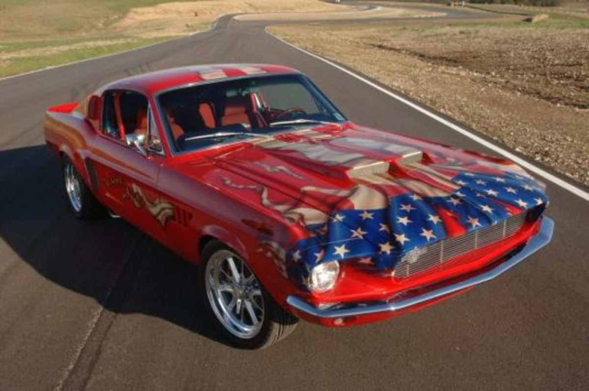 Lot #470: 1968 Ford Mustang Stryker Coupe. One-of-a-kind built by Sanderson's Customs & Conversions with design contributions by George Barris. Designed as tribute to the US Armed Forces.