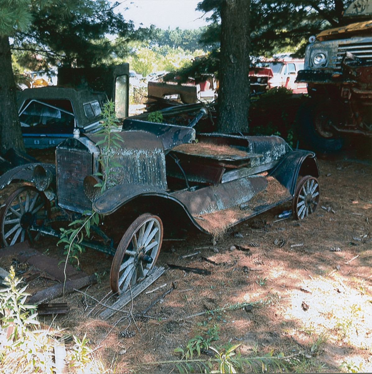 One of several old-timers in Golden Sands Salvage is what remains of this Ford Model T runabout. The T could work well as yard art, but is too far gone for restoration.