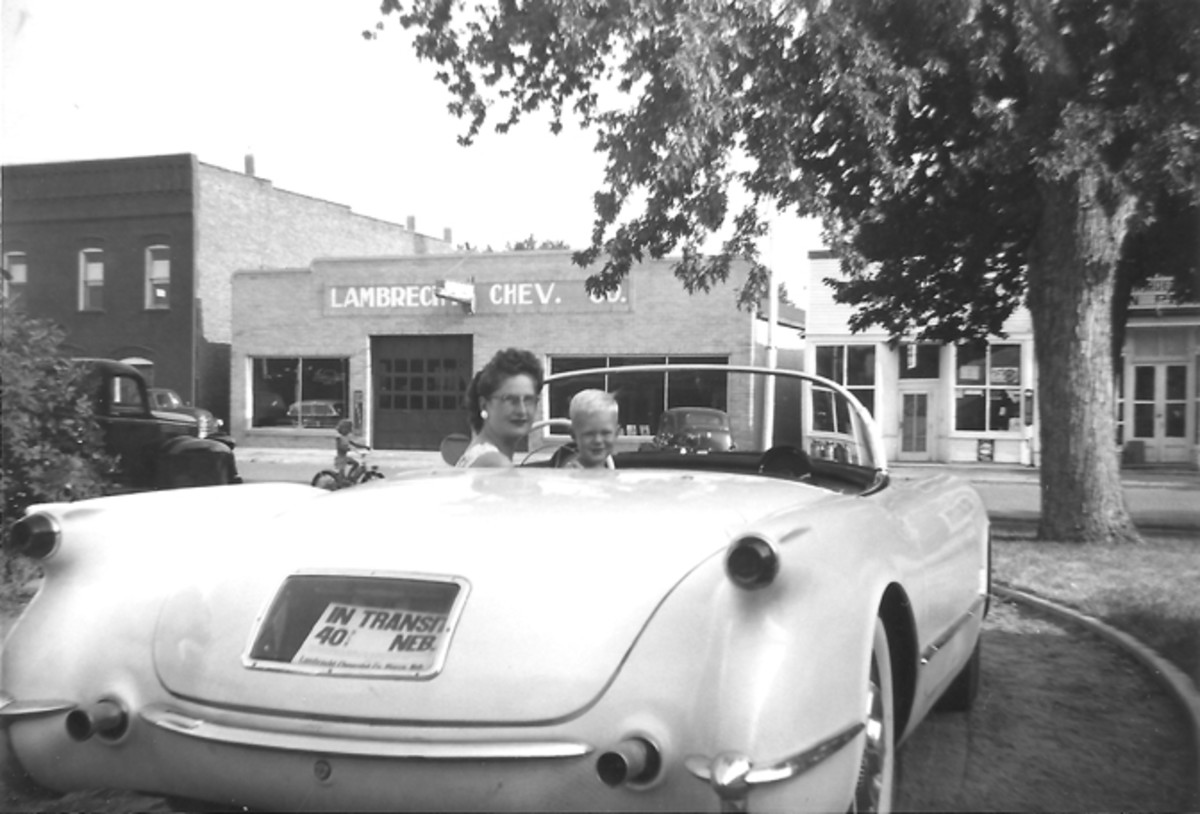 Mildred Lambrecht and her son Mark take a ride in a 1953 Corvette.