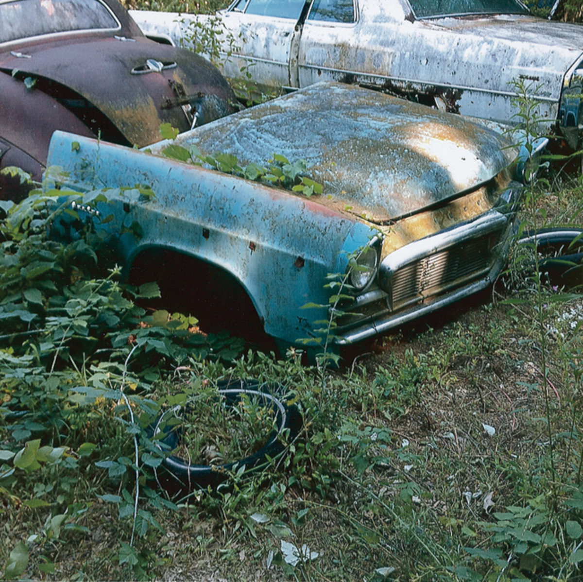 This moss-covered 1956 Chrysler New Yorker front clip remains in donor-quality condition, but lying on the ground isn't helping its preservation.