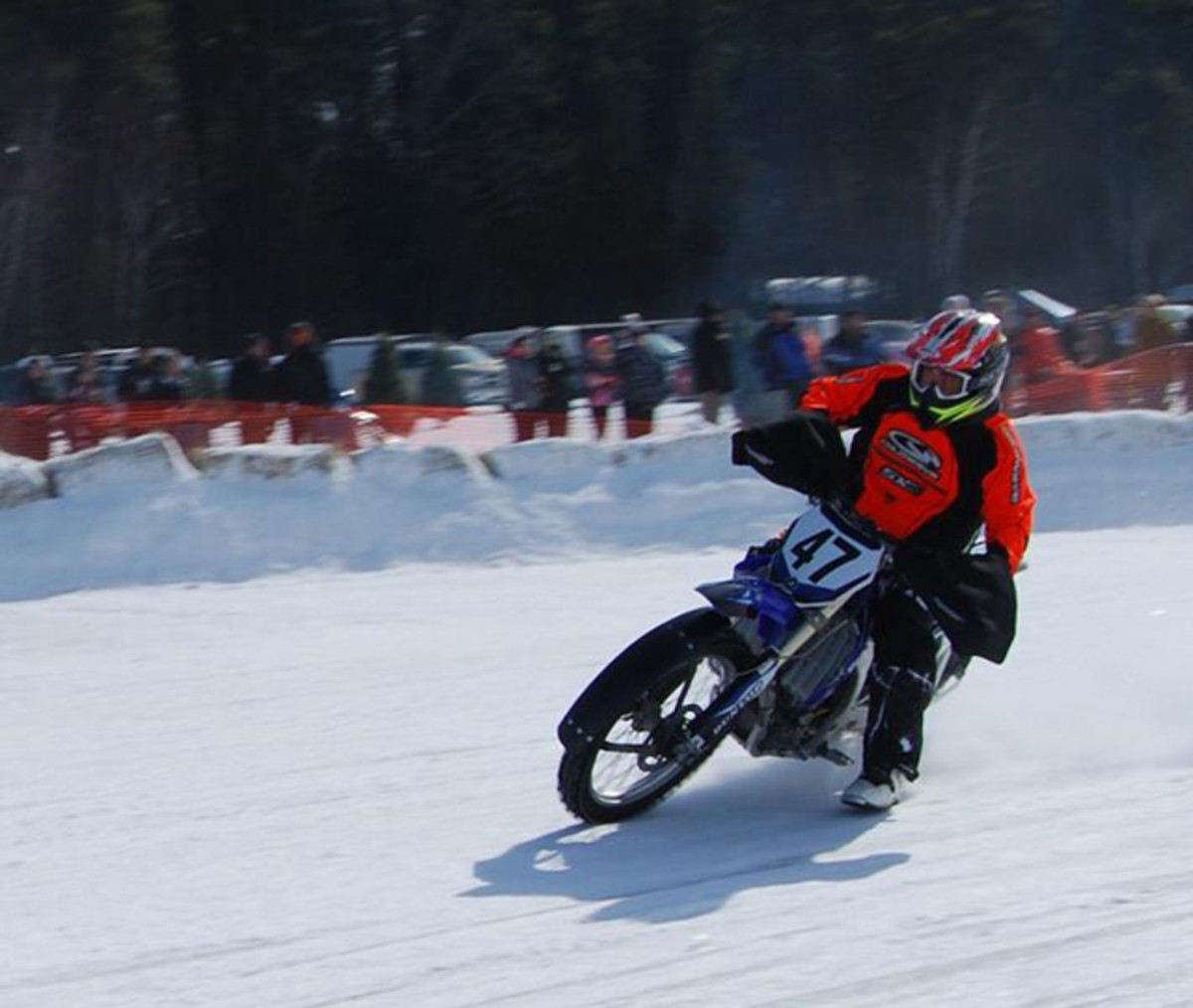 When you're racing a motorcycle on ice there's not much of a friction zone.