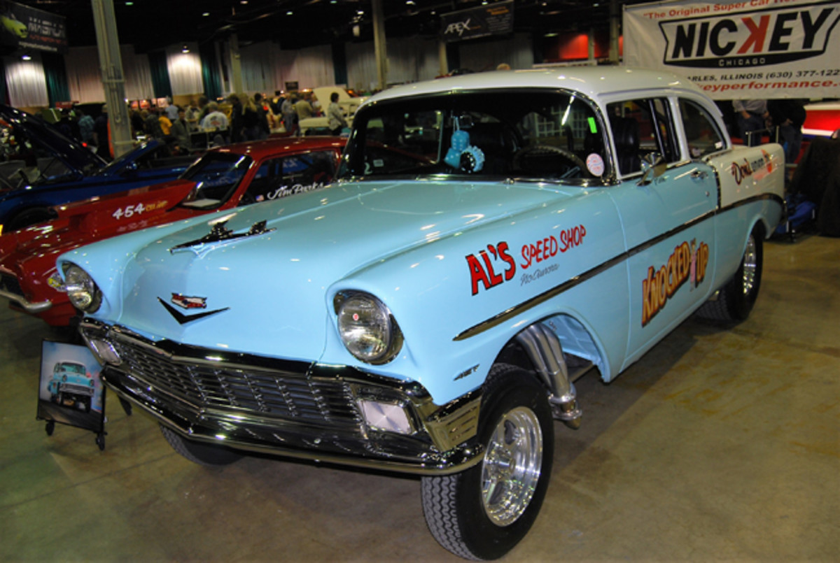 This '56 Chevy straight axle car was one of many gassers at the 2018 Muscle Car and Corvette Nationals (www.mcacn.com) in Rosemont, Ill.