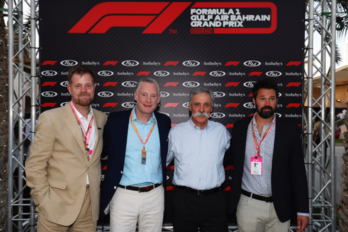 Maarten ten Holder (Head of RM Sotheby's Europe & Chief Auctioneer), Sean Bratches (Managing Director Commercial Operations, Formula 1®), Chase Carey (CEO of the Formula 1® Group), and Shelby Myers (Global Head of Private Sales & Car Specialist, RM Sotheby's) stand for a photo opportunity at a press conference held 29 March at the Gulf Air Bahrain Grand Prix 2019 to announce the new global collaboration between the two companies - © Motorsport Images