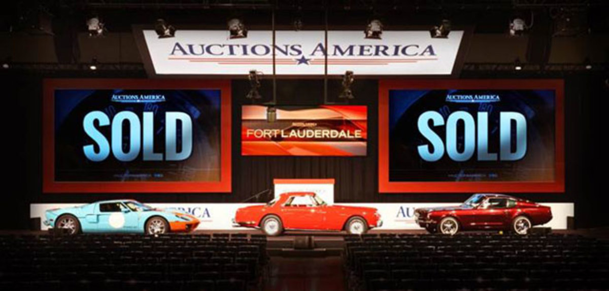"Highlights from Auctions America's most successful Fort Lauderdale sale to date, (L-R) 2006 Ford GT Heritage Edition, 1959 Ferrari 250 GT Coupe, and the 1964 ½ Ford Mustang III ""Shortly"" Factory Prototype (courtesy Auctions America)."