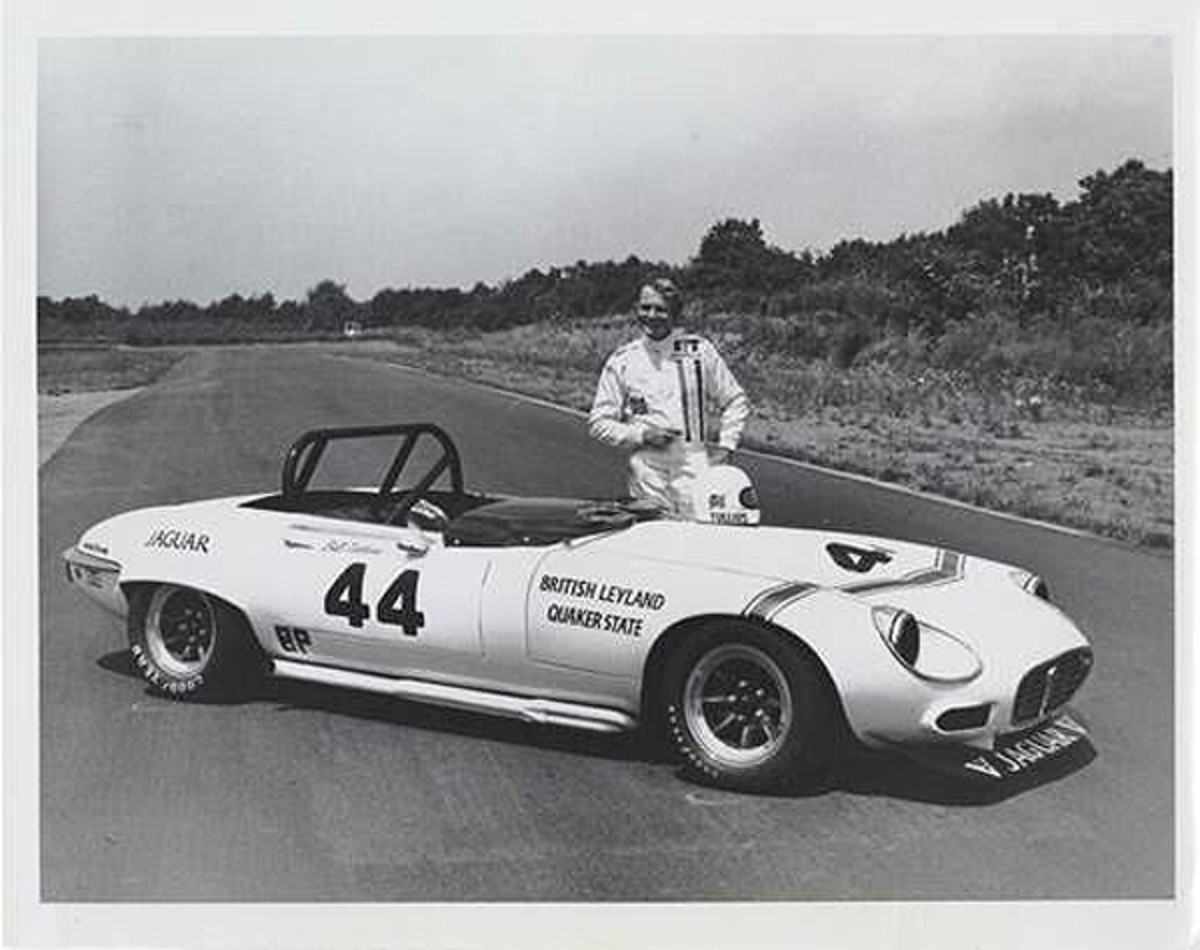 Bob Tullius stands beside the Group 44-prepared XKE he drove to the 1975 SCCA National B Production National Championship