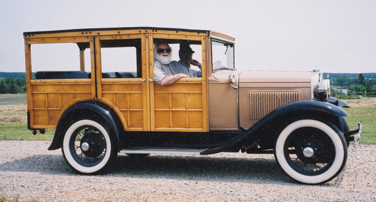 "This 1931 Model A ""woodie"" is owned by Laurent d'Entremont, the author of the story. d'Entremont is at the wheel."