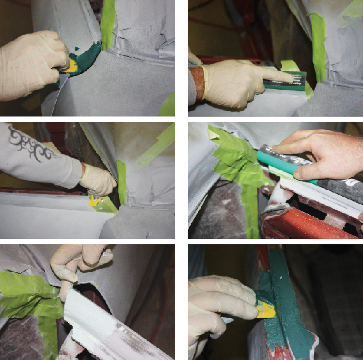 Fiberglass filler is used to smooth over a patch on the door edge (top). After that, a Shawn Schrock applies and sands a layer of putty (middle) before spreading on a layer finishing glaze (bottom left). A similar approach was used on the trunk lip (lower right), where fiberglass filler was used over a welded patch, and again followed by putty and glaze.