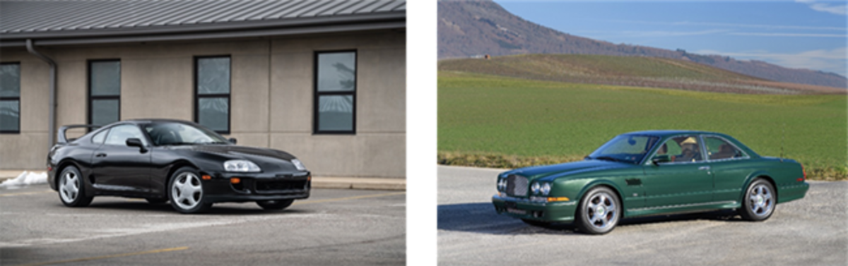 LEFT: 1993 Toyota Supra Twin Turbo Sport Roof(Credit - Jeremy Cliff ©2020 Courtesy of RM Sotheby's)RIGHT: 2002 Bentley Continental R Le Mans Series(Credit - Tim Scott ©2020 Courtesy of RM Sotheby's)