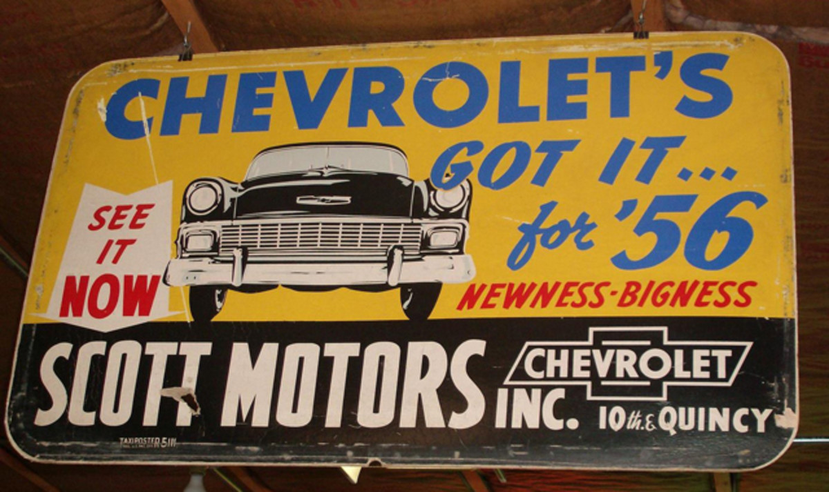 This license plate shaped promotional sign that originally hung in the Scott Motors dealership in Quincy, Ill., promoted the '56 Chevy.